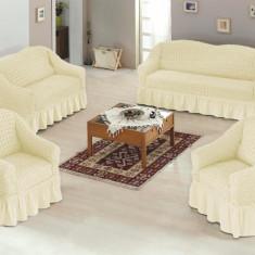Set huse canapea si fotolii bumbac elasticizat si creponat - 3.1.1 Bej Natur - Husa pat