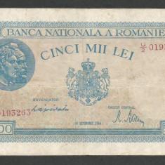 ROMANIA 5000 5.000 LEI 10 OCTOMBRIE 1944 [11] P-55, VF - Bancnota romaneasca