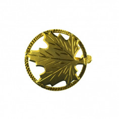 Brosa argint placata aur, design minimalist, model canadian frunza artar vintage