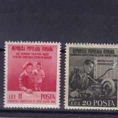 ROMANIA 1950 LP 270 LUPTA PENTRU PACE SERIE MNH - Timbre Romania, Nestampilat