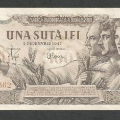 ROMANIA 100 LEI 1947 5 DECEMBRIE [4] XF+++, filigran BNR - Bancnota romaneasca