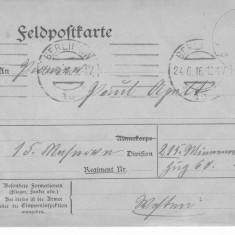 FELDPOST KARTE - CARTE POSTALA MILITARA DIN TIMPUL PRIMULUI RAZBOI MONDIAL-1916, Germania, Circulata, Printata