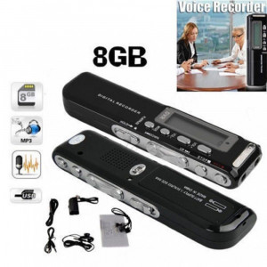 Reportofon digital Profesional 8 GB - 850 Ore - MP3 Player - Activare vocala