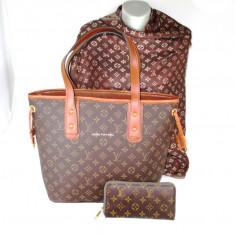 Set geanta, esarfa si portofel LV Louis Vuitton+CADOU - Geanta Dama, Culoare: Din imagine, Marime: Mare