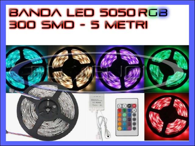 Kit banda led LEDURI SMD 5050 RGB 5 metri controler telecomanda si alimentator