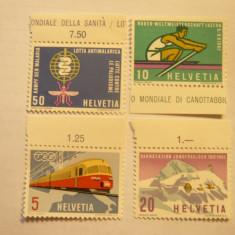 Serie Aniversari Elvetia 1962, 4 valori - Timbre straine, Nestampilat