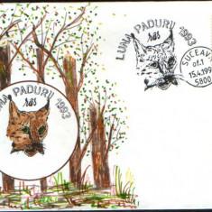 Romania - 1993 - Plic ocazional - Luna Padurii Suceava - Animale salbatice Rasul