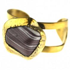 Bratara masiva scandinava, placata aur, piatra agat, designer danez Erik Dennung - Bratara Fashion