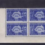 ROMANIA 1948 LP 226 RECENSAMANTUL BLOC DE 4 TIMBRE MNH - Timbre Romania, Nestampilat