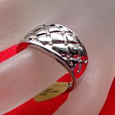 Inel verigheta placat cu aur alb 18k si Swarovski alb - marimea 9, 19mm/ 60mm