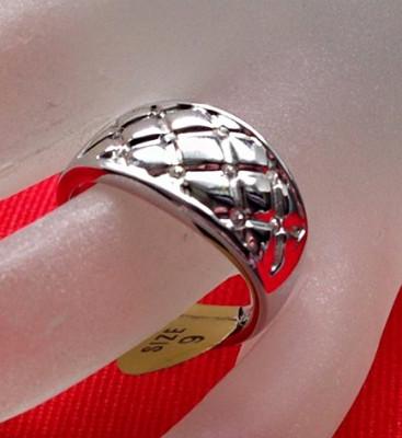 Inel verigheta placat cu aur alb 18k si Swarovski alb - marimea 9, 19mm/ 60mm foto