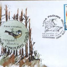 Romania - 1994-Plic oc.- Luna padurii Suceava - Pitigoiul albastru