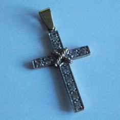 Cruciulita aur 9k cu zirconii -1039 - Lantisor placate cu aur