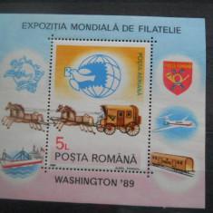 1989  LP  1230  EXPOZITIA MONDIALA DE FILATELIE WASHINGTON'89
