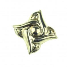 Brosa argint vintage, design volute modernist contemporan, manufactura mexicana