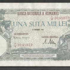 ROMANIA 100000 100.000 LEI 20 DECEMBRIE 1946 [18] XF - Bancnota romaneasca