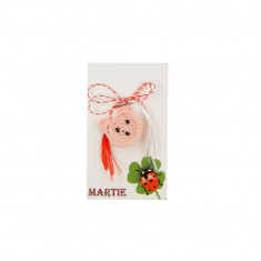 Martisor Brosa Crosetat Manual Ursulet Roz Pal - Martisor handmade