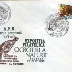 Romania - plic oc.1989 - Ocrotirea Naturii Suceava - Arici, vidra, cocos salbatic