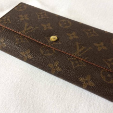 Portofel, portmoneu dama LV marou cu semne LV fata-verso cu inchizatoare, elegant - Portofel Dama Louis Vuitton