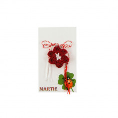 Martisor Brosa Crosetat Manual Floare Rosie - Martisor handmade