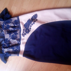 Rochie nouă bleumarin femei fete mărime 54 karotte pt seara nunta botez nasa - Rochie de seara, Midi, Scurta, Vascoza