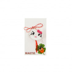 Martisor Brosa Crosetat Manual Pisicuta - Martisor handmade