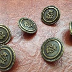 Lot 6 bucati - nasturi din metal cu blazon / emblema / coroana / ancora si sarpe