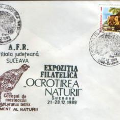 Romania - Plic oc.1989 - Ocrotirea Naturii Suceava - Arici, jder, cocos mesteacan