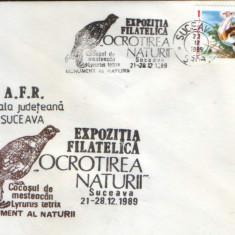 Romania - Plic oc.1989 - Ocrotirea Naturii Suceava -Cocosul de mesteacan, dropia