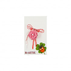 Martisor Brosa Crosetat Manual Floare Roz cu Biluta Neagra - Martisor handmade