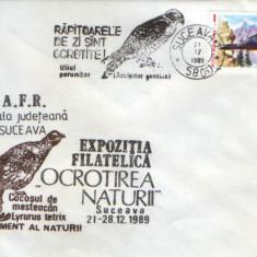 Romania - Plic oc.1989 - Ocrotirea Naturii Suceava - Uliul, zagan, cocos mesteacan