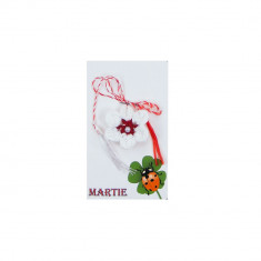 Martisor Brosa Crosetat Manual Floare Alba - Martisor handmade