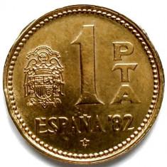 SPANIA, 1 PESETA 1980, Juan Carlos I 1982 FIFA World Cup, Europa, Bronz