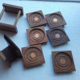 Suporturi pahare + servetele din lemn cu moneda 1 cent 1972 Canada bani vechi