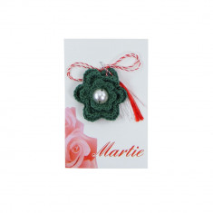 Martisor Brosa Crosetat Manual Green Flower - Martisor handmade