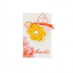 Martisor Brosa Crosetat Manual Yellow Flower - Martisor handmade