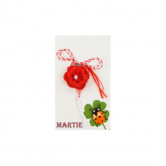 Martisor Brosa Crosetat Manual Floare Rosie cu Biluta Alba - Martisor handmade
