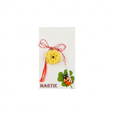 Martisor Brosa Crosetat Manual Floare Galbena cu Biluta Neagra - Martisor handmade