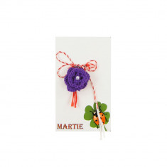 Martisor Brosa Crosetat Manual Floare Mov cu Biluta Alba - Martisor handmade