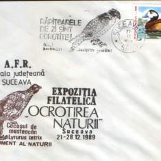 Romania - Plic oc.1989 - Ocrotirea Naturii Suceava - Uliul, cocos mesteacan, ratza