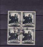 ROMANIA 1949  LP 250 , 25  ANI DE LA MOARTEA LUI LENIN BLOC DE 4 STAMP. PRIMA ZI, Stampilat