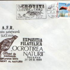 Romania - Plic oc.1989 - Ocrotirea Naturii Suceava -Lastun, flamingo