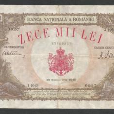 ROMANIA 10000 10.000 LEI 20 DECEMBRIE 1945 [36] starea din imagine - Bancnota romaneasca
