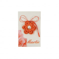 Martisor Brosa Crosetat Manual Orange Flower - Martisor handmade