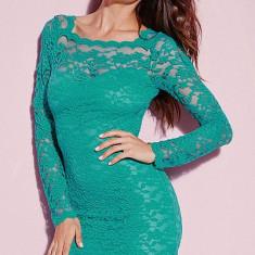 M371-12 Rochie scurta sexy din dantela cu maneci lungi - Rochie de seara, Marime: S/M, Verde
