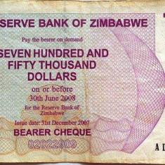Bancnota 750000 Dolari - ZIMBABWE, anul 2007 *cod 350 Bearer Cheque