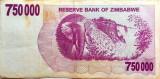 Bancnota 750000 Dolari - ZIMBABWE, anul 2007 *cod 351 Bearer Cheque