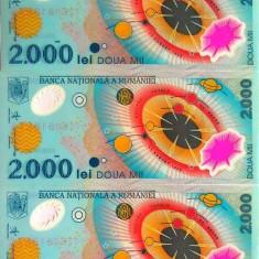 Lot/Set 3 bancnote consecutive ROMANIA, 2000 Lei 1999 ECLIPSA-UNC! cod 363 - Bancnota romaneasca