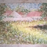 Peisaj vara la tara - Pictor roman, Peisaje, Acuarela, Pointillism