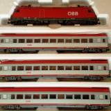 Set garnitura Locomotiva Taurus + 3 vagoane OBB, HO, Piko - Macheta Feroviara